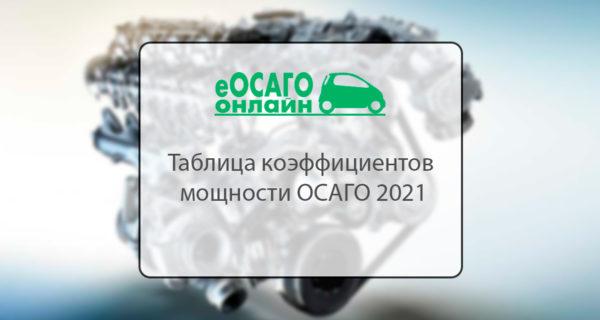 Таблица коэффициентов мощности ОСАГО 2021